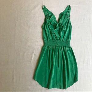 Rebecca Taylor Green Silk Ruffle Dress